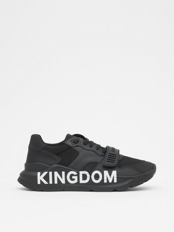 Kingdom Print Neoprene and Leather Sneakers in Black