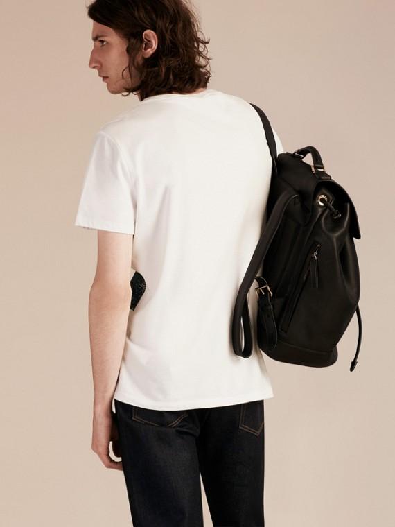 Blanc T-shirt en coton à motif check texturé Blanc - cell image 2