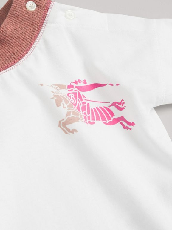 Equestrian Knight Print Cotton Bodysuit in Rose Pink - Children | Burberry Singapore - cell image 1