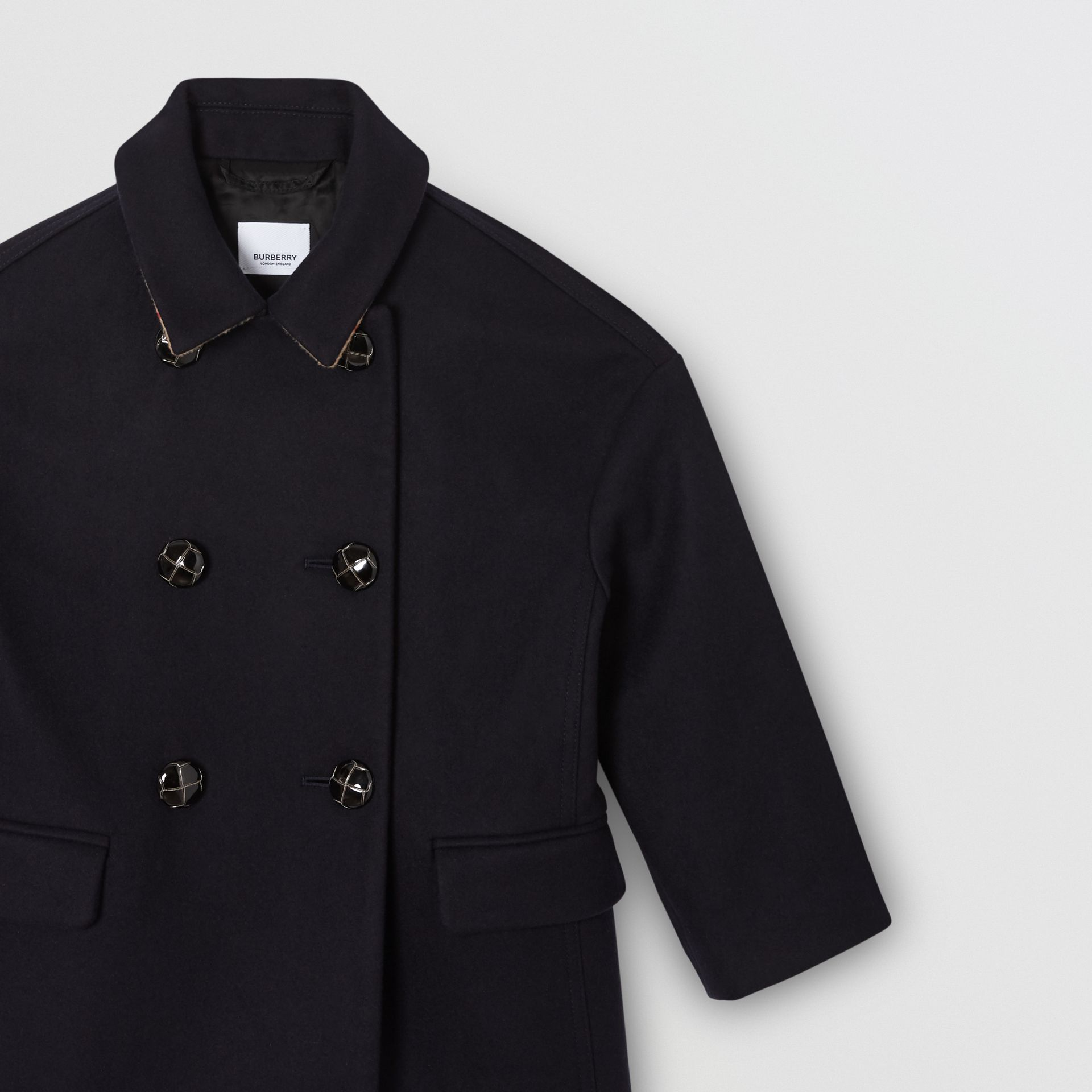 Wool Tailored Pea Coat in Navy | Burberry Singapore - gallery image 4