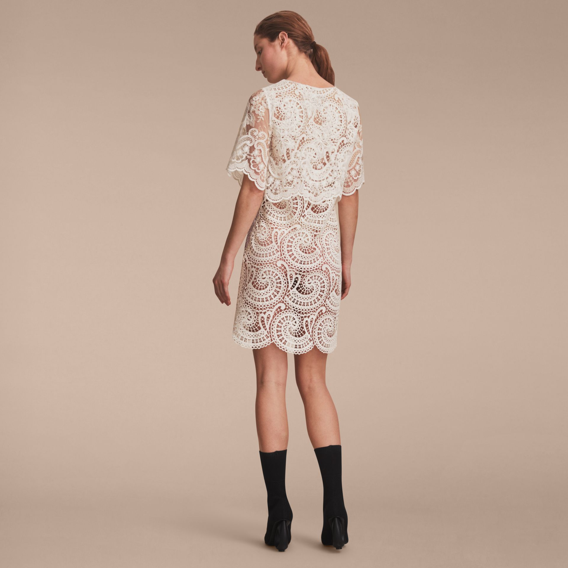 Layered Macramé Lace Shift Dress - gallery image 3