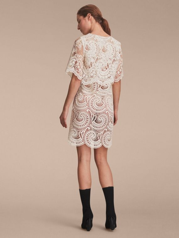 Layered Macramé Lace Shift Dress - cell image 2