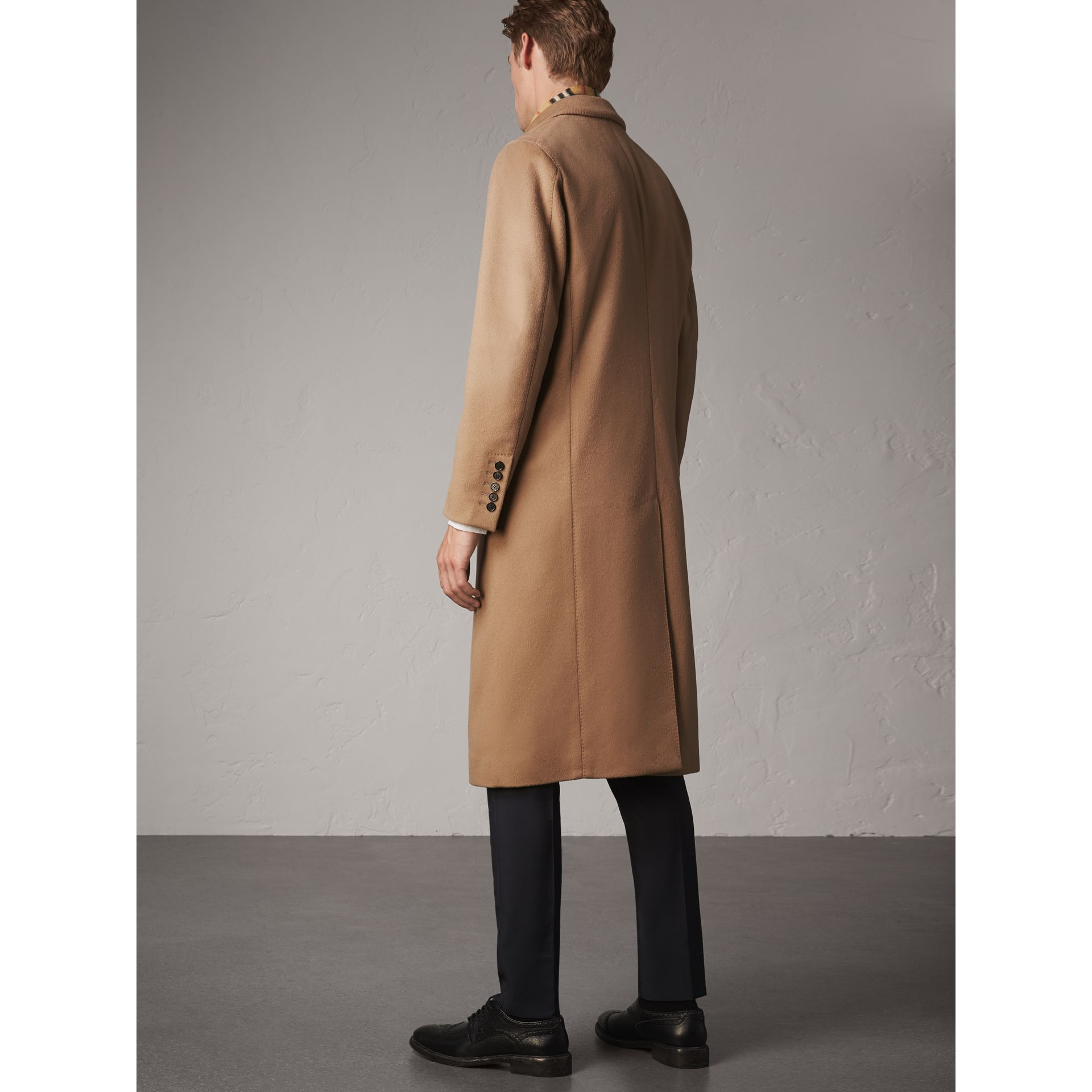 Double-breasted Extra Long Wool Cashmere Coat in Camel - Men | Burberry Singapore - gallery image 3
