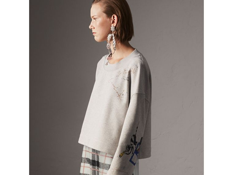 Sketch Print Loopback Cotton Sweatshirt in Light Grey Melange - Women | Burberry Singapore - cell image 4