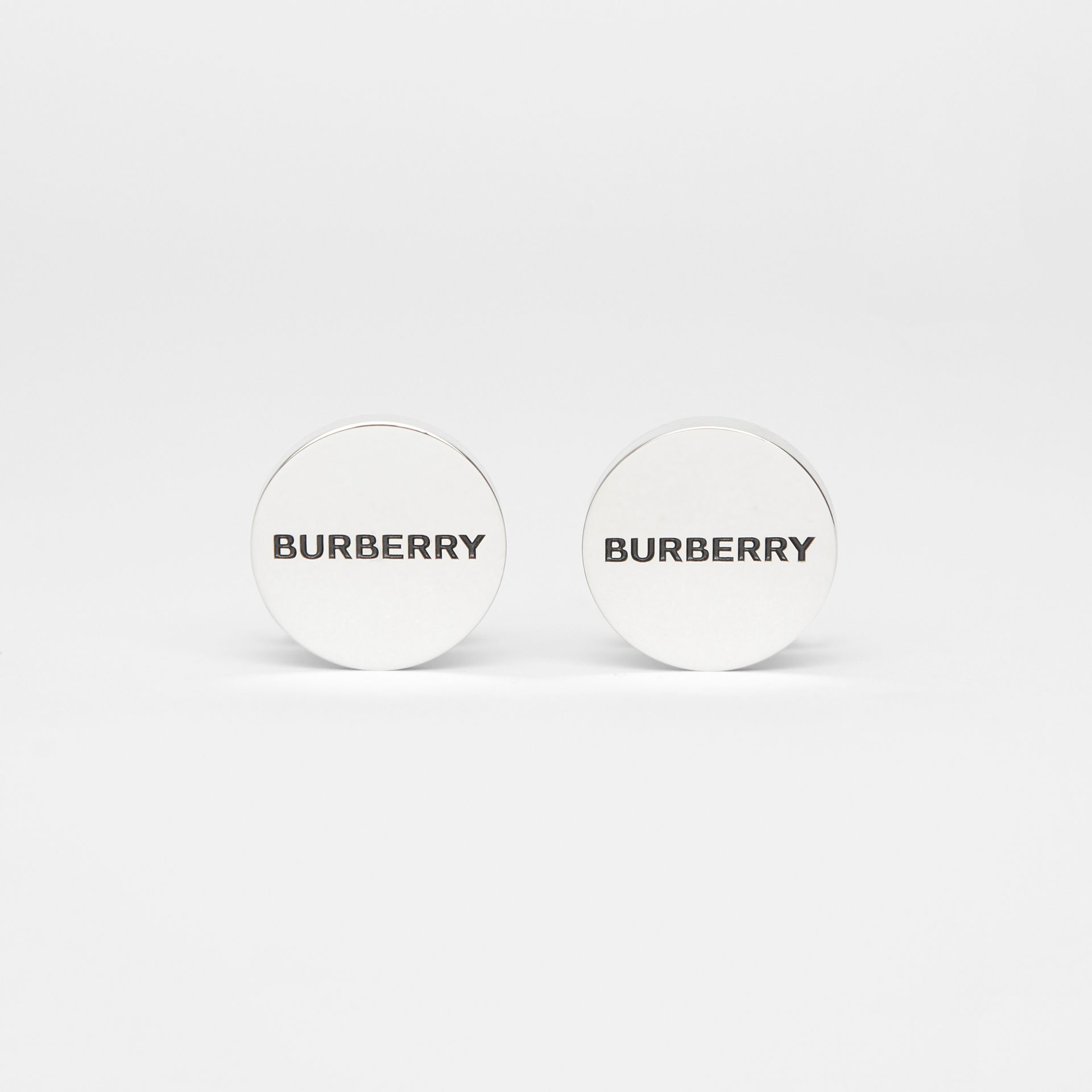 Engraved Silver-plated Cufflinks - Men | Burberry - gallery image 0
