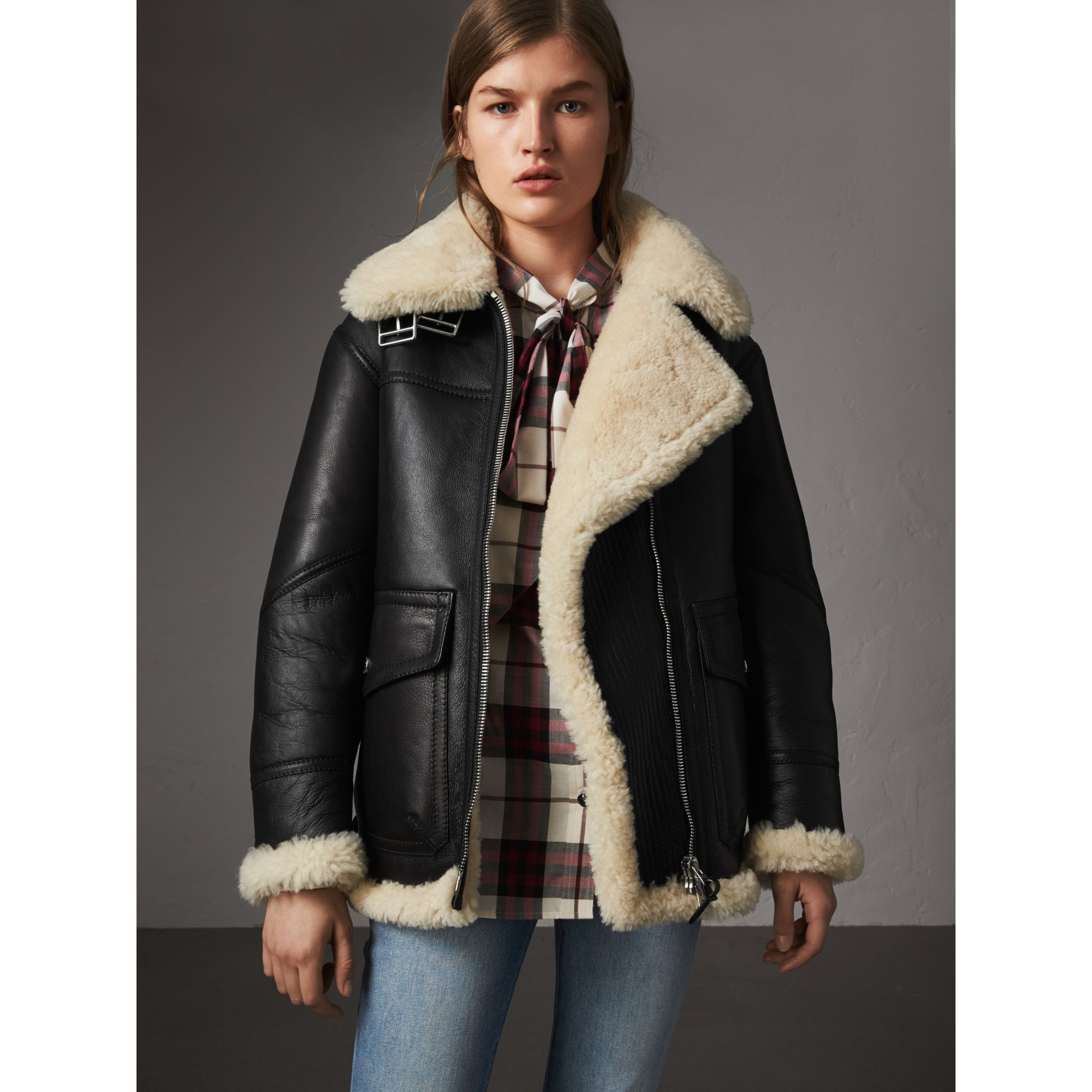 Shearling Aviator Jacket in Black - Women | Burberry - gallery image 6