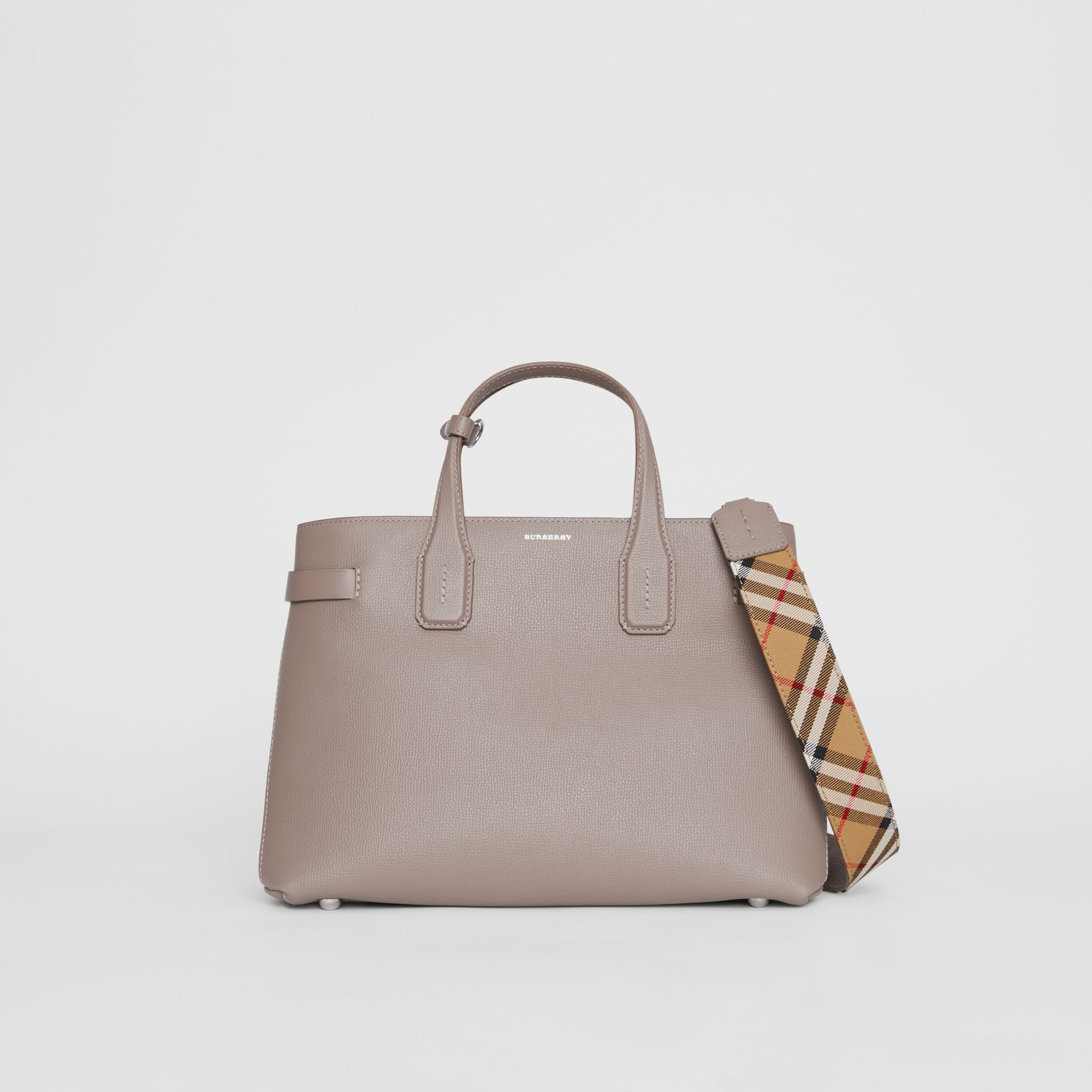 The Medium Banner in Leather and Vintage Check in Taupe Brown - Women | Burberry Australia - gallery image 6