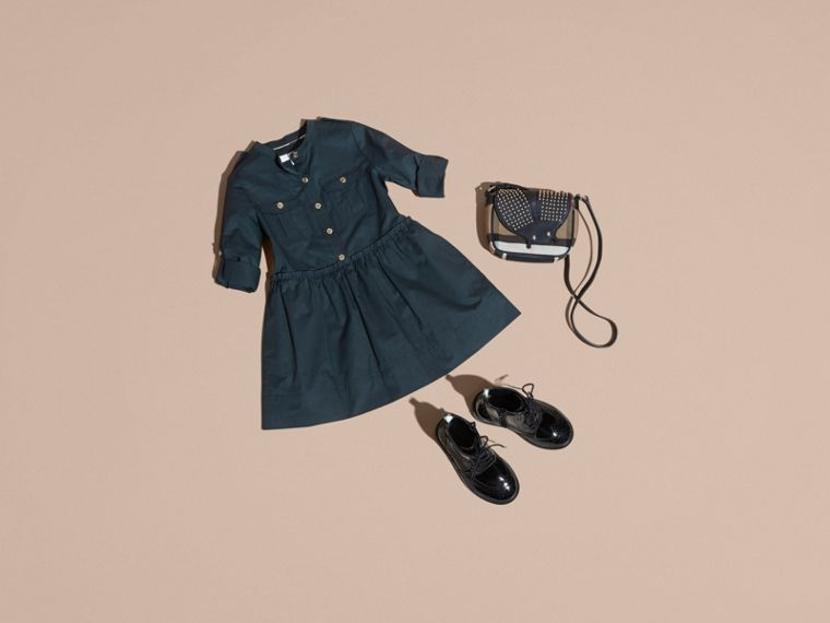 Dark pewter blue Stretch Cotton Military Shirt Dress - cell image 4