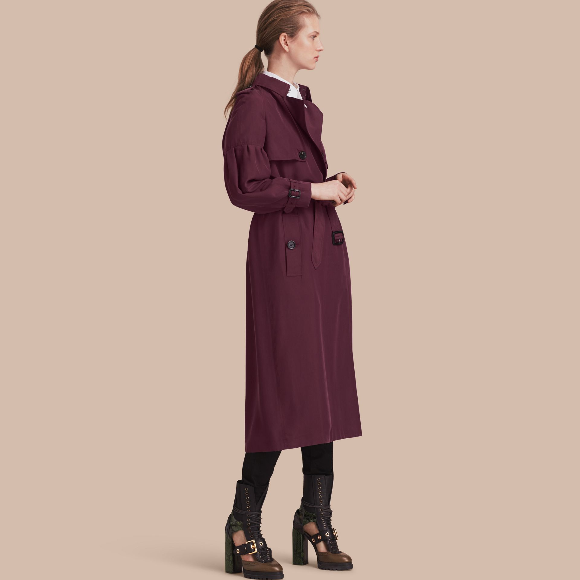 Burgundy Oversize Silk Trench Coat with Puff Sleeves Burgundy - gallery image 1