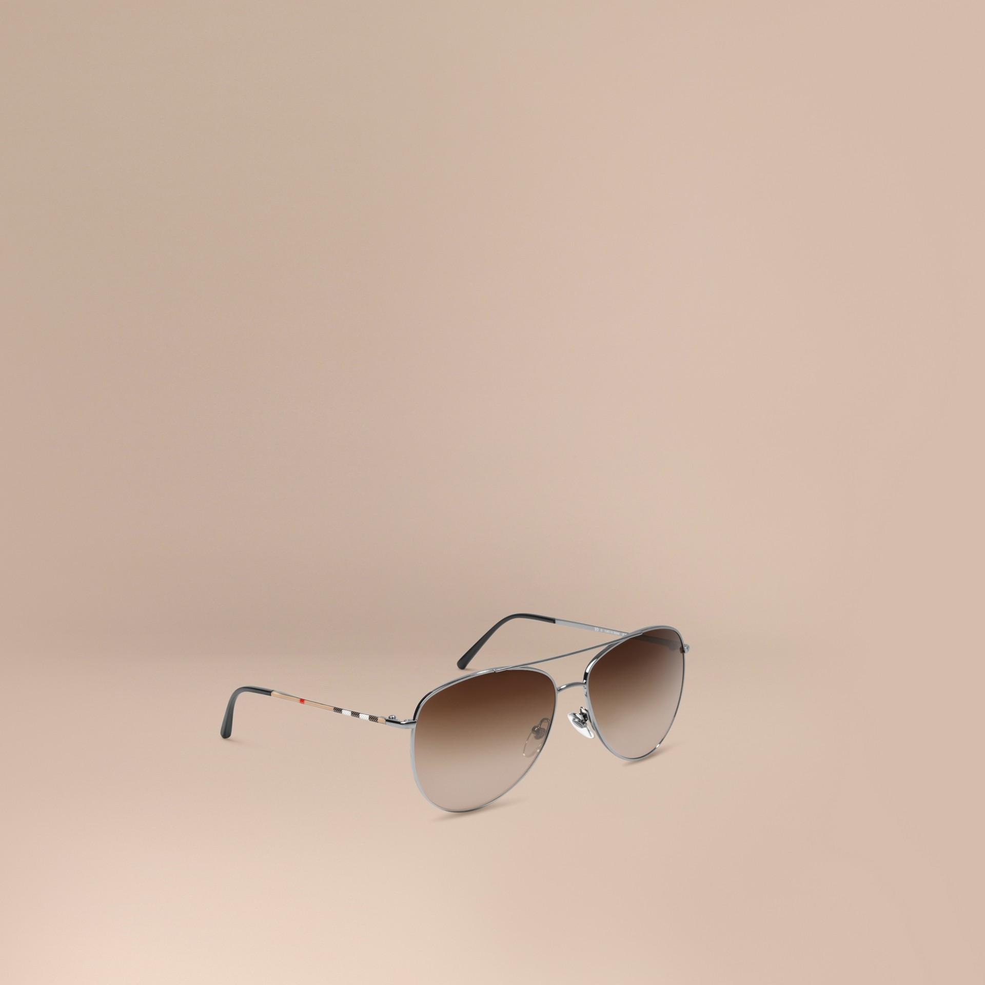 Nickel Check Arm Aviator Sunglasses Nickel - gallery image 1
