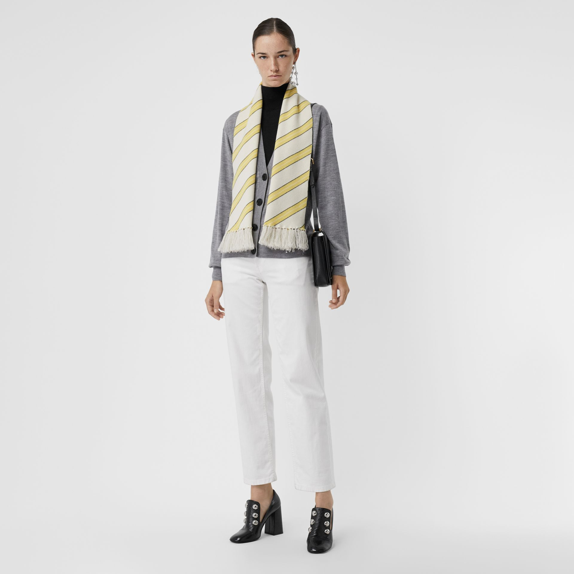 Tri-tone Striped Wool Cashmere Scarf in Natural White | Burberry - gallery image 2