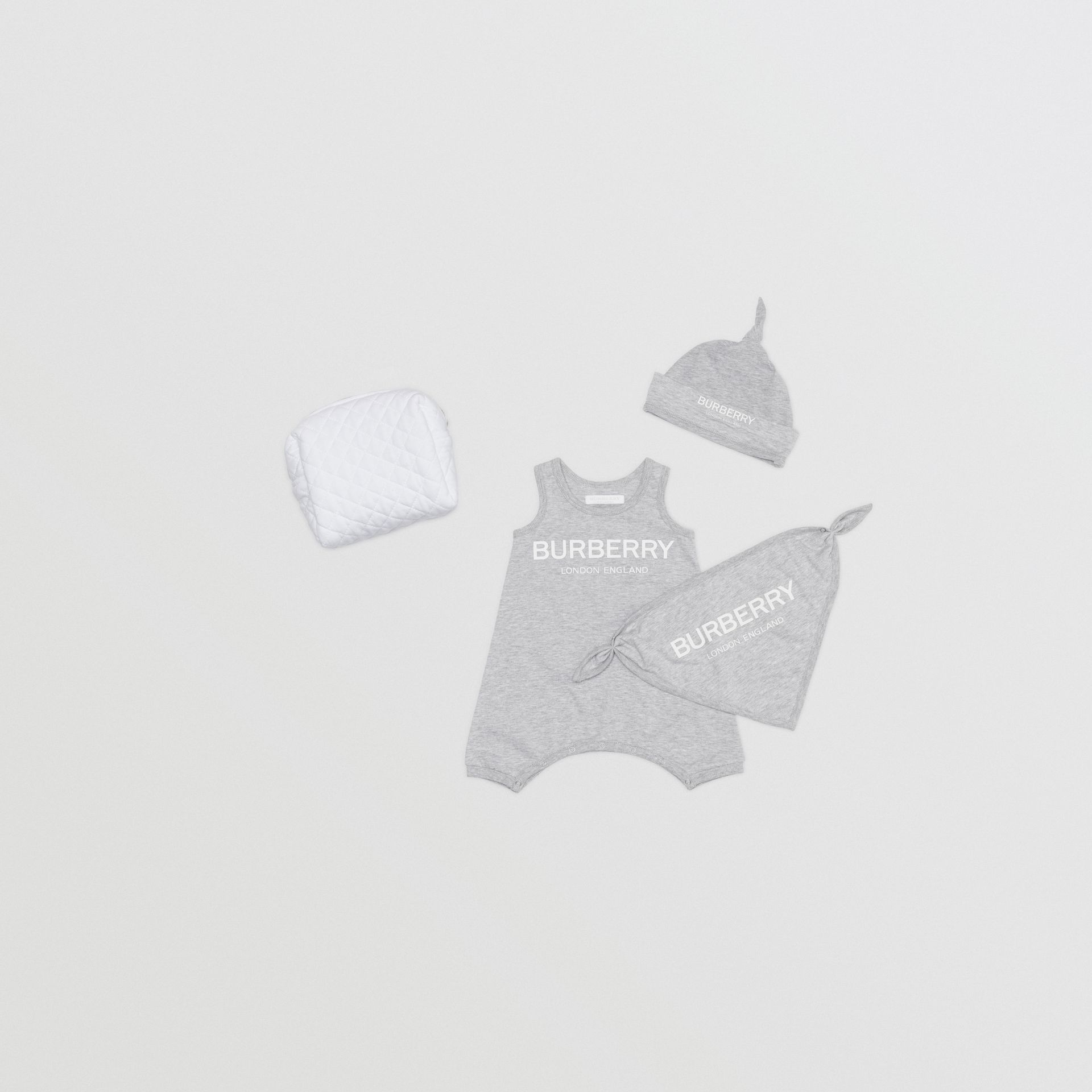 Logo Print Cotton Three-piece Baby Gift Set in Grey - Children | Burberry - gallery image 0