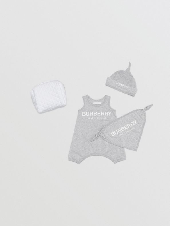 Logo Print Cotton Three-piece Baby Gift Set in Grey