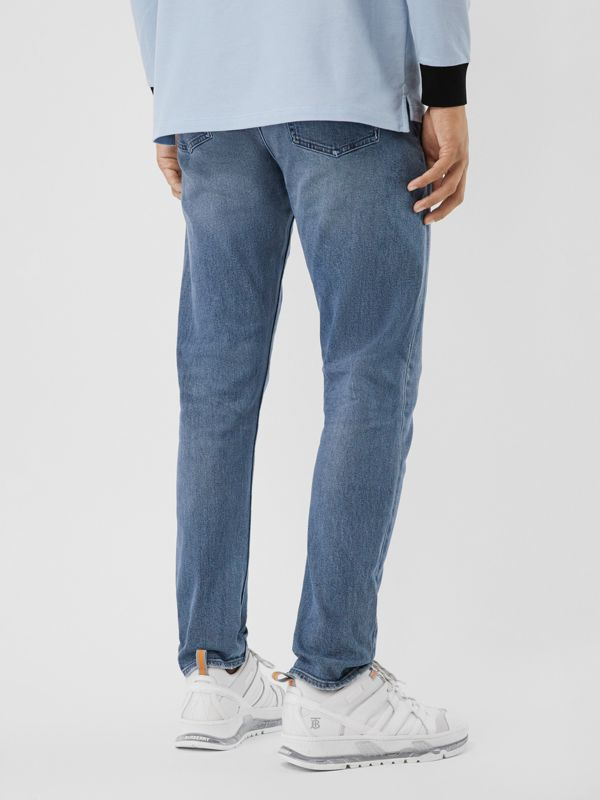 Slim Fit Washed Jeans in Light Indigo Blue - Men | Burberry - cell image 2
