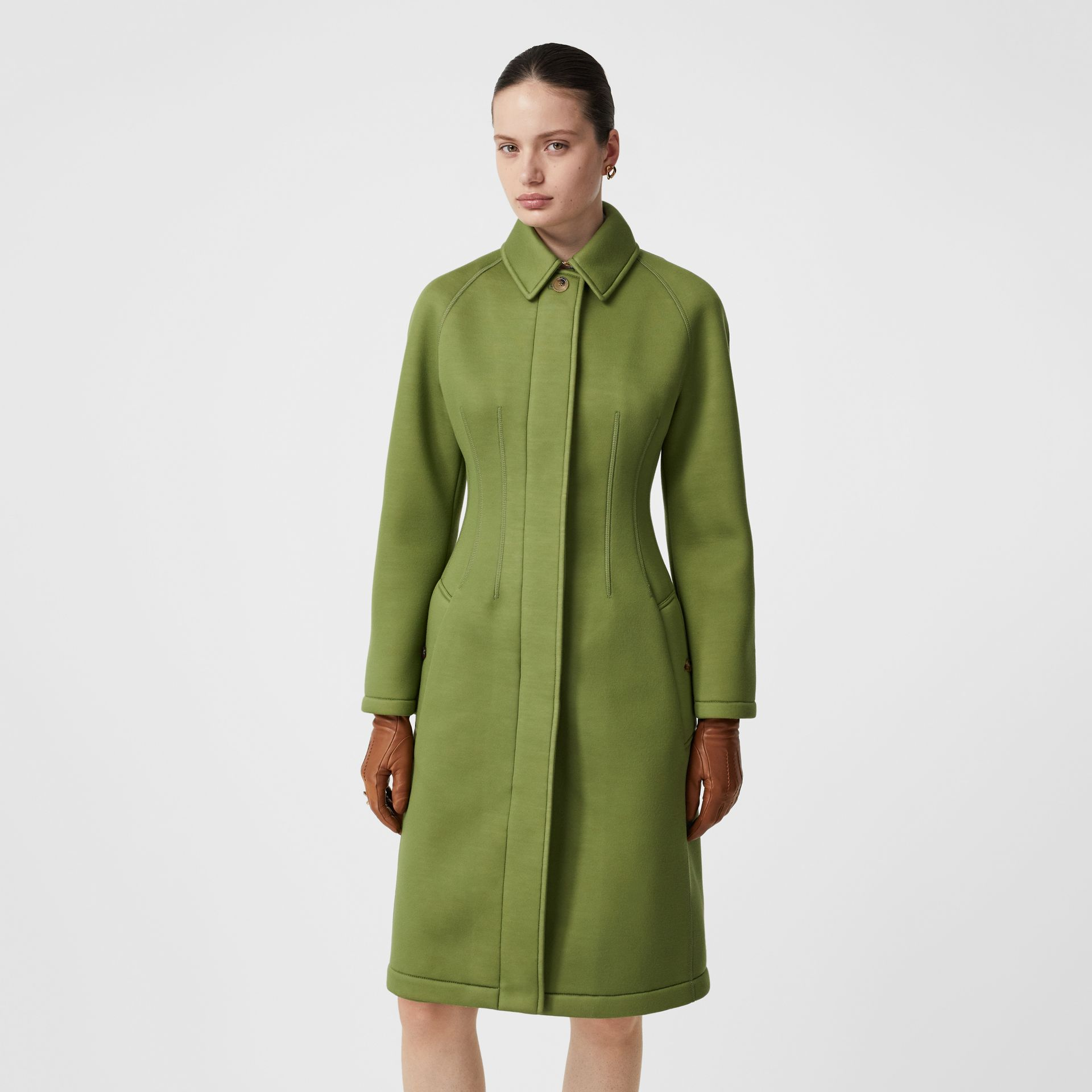 Bonded Neoprene Tailored Car Coat in Cedar Green - Women | Burberry - gallery image 5