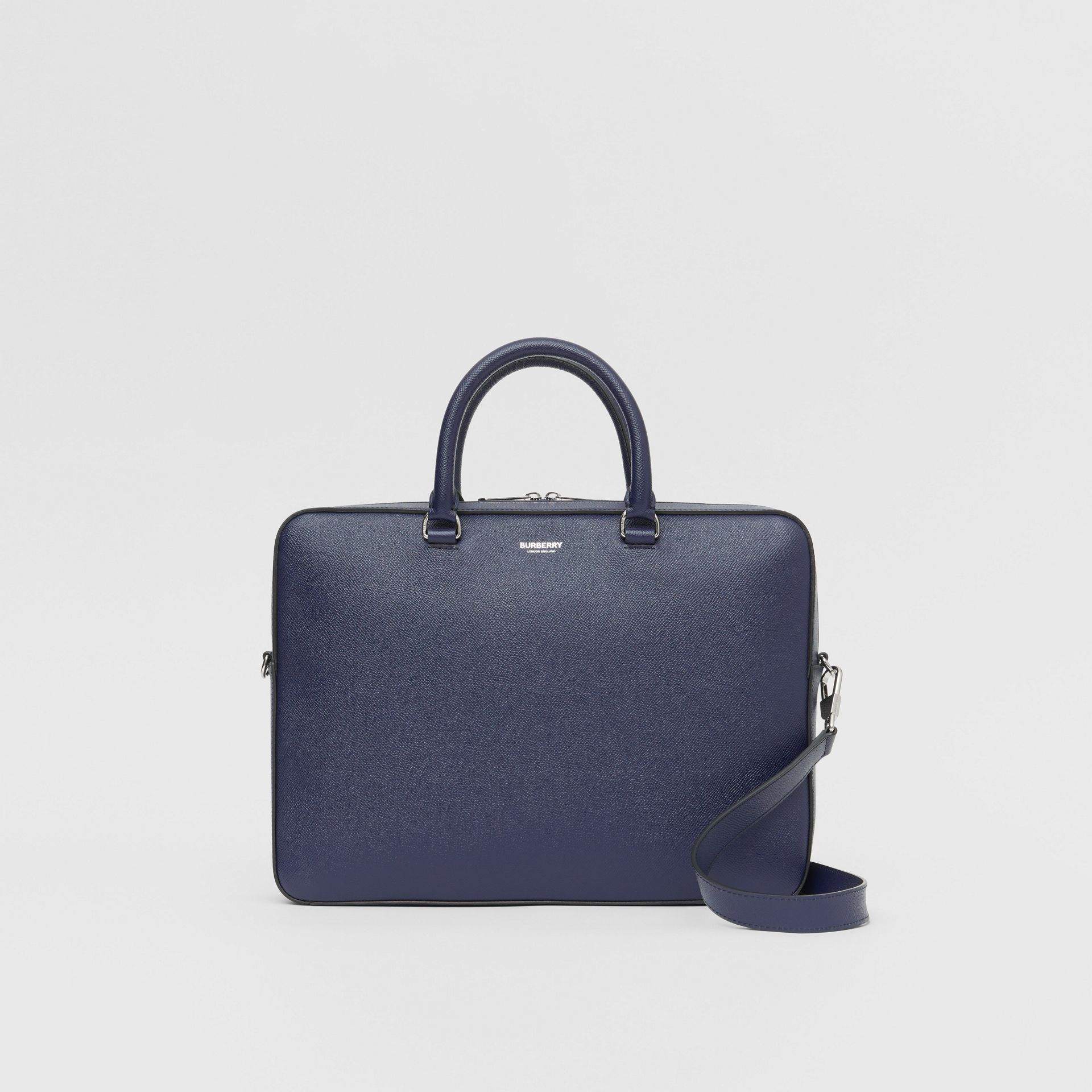 Grainy Leather Briefcase in Regency Blue - Men | Burberry Singapore - gallery image 0