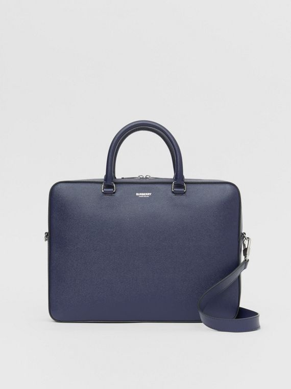 Attaché-case en cuir grainé (Bleu Régence)