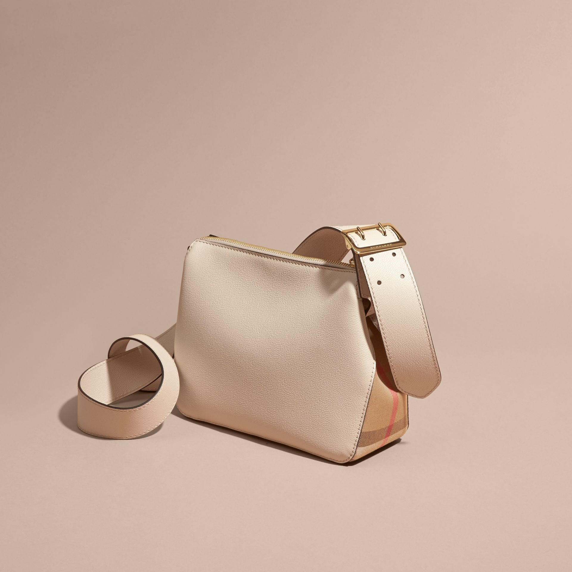 Buckle Detail Leather and House Check Crossbody Bag in Limestone - Women | Burberry - gallery image 4