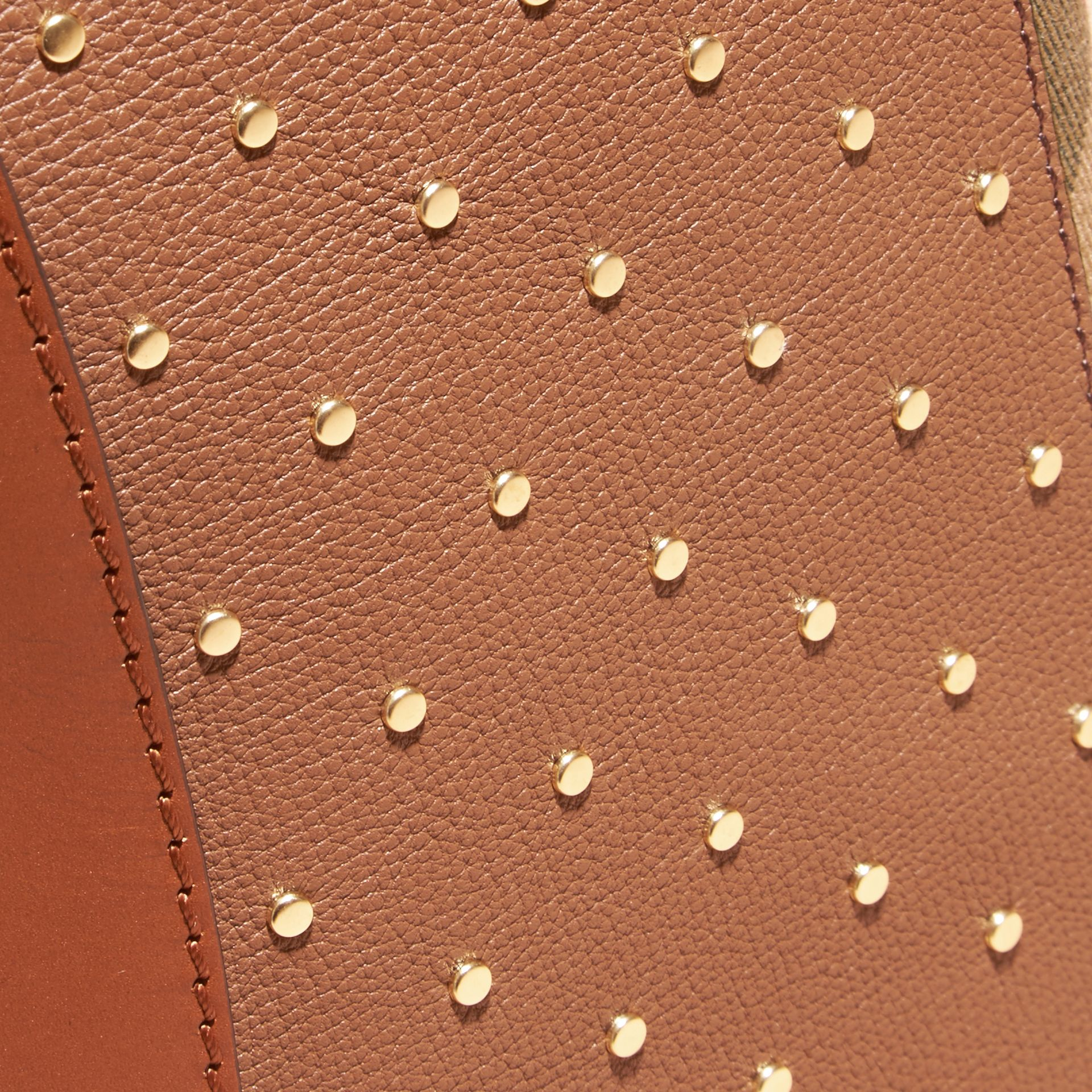 Riveted Leather and House Check Clutch Bag in Tan - gallery image 2