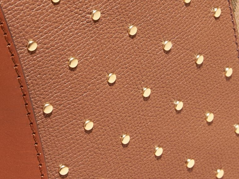 Riveted Leather and House Check Clutch Bag in Tan - cell image 1