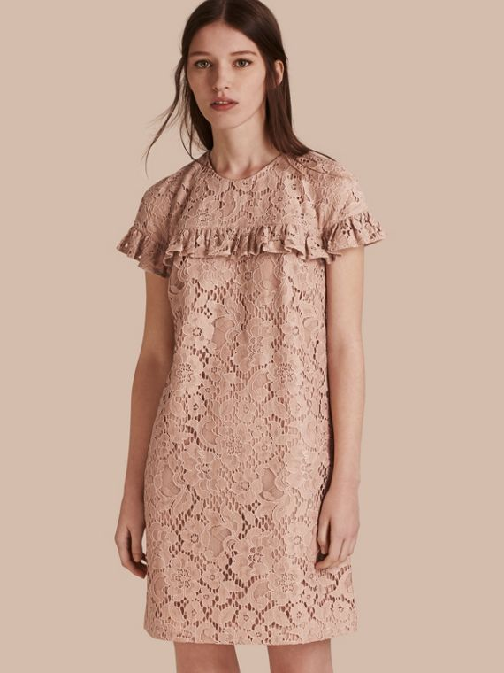 Short-length Lace Shift Dress with Ruffle Detail