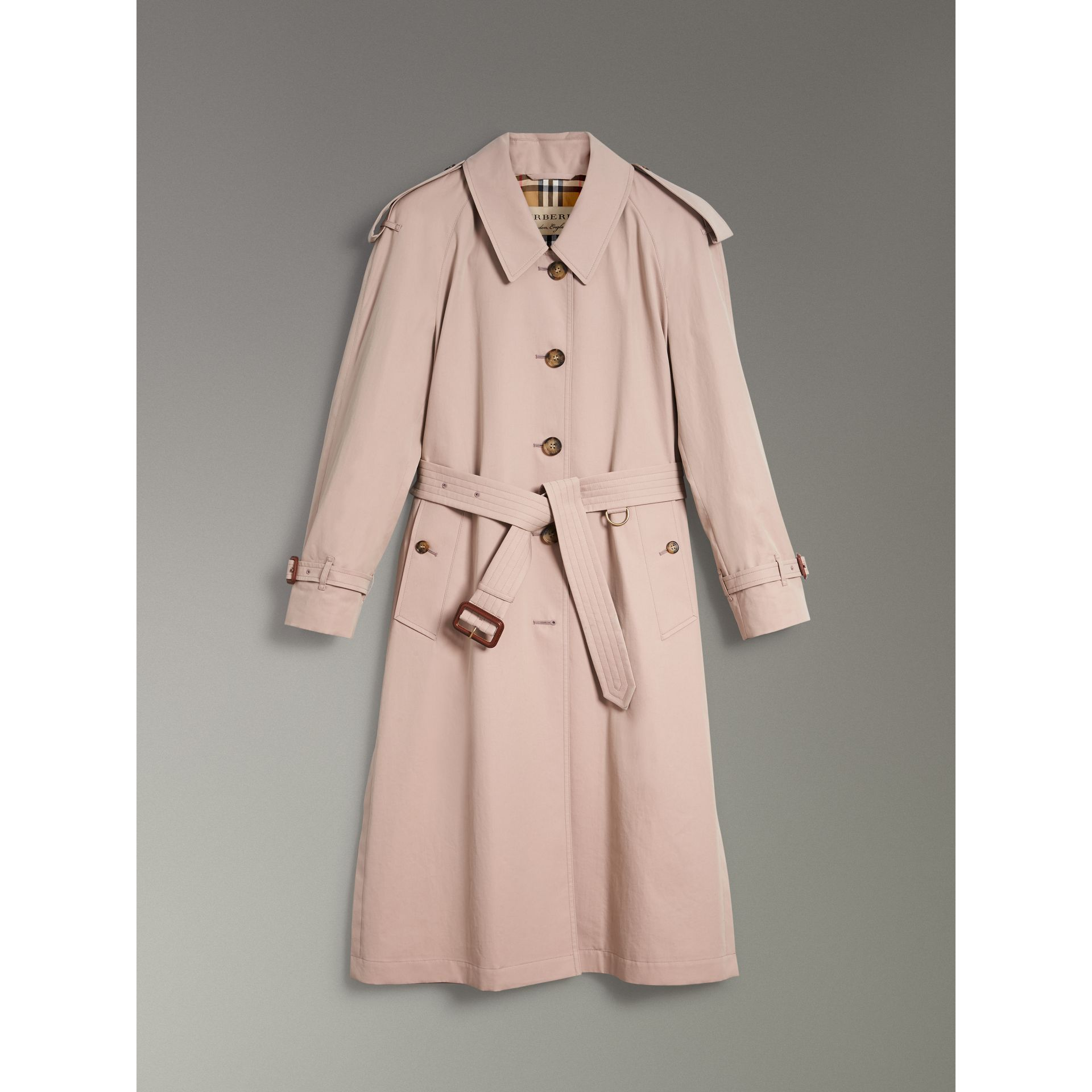 Side-slit Tropical Gabardine Trench Coat in Antique Taupe Pink - Women | Burberry United States - gallery image 3