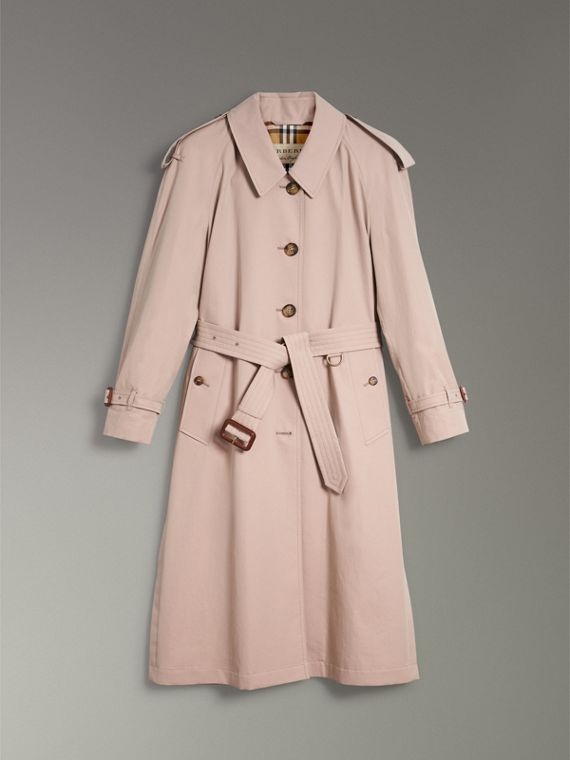 Side-slit Tropical Gabardine Trench Coat in Antique Taupe Pink - Women   Burberry United States - cell image 3