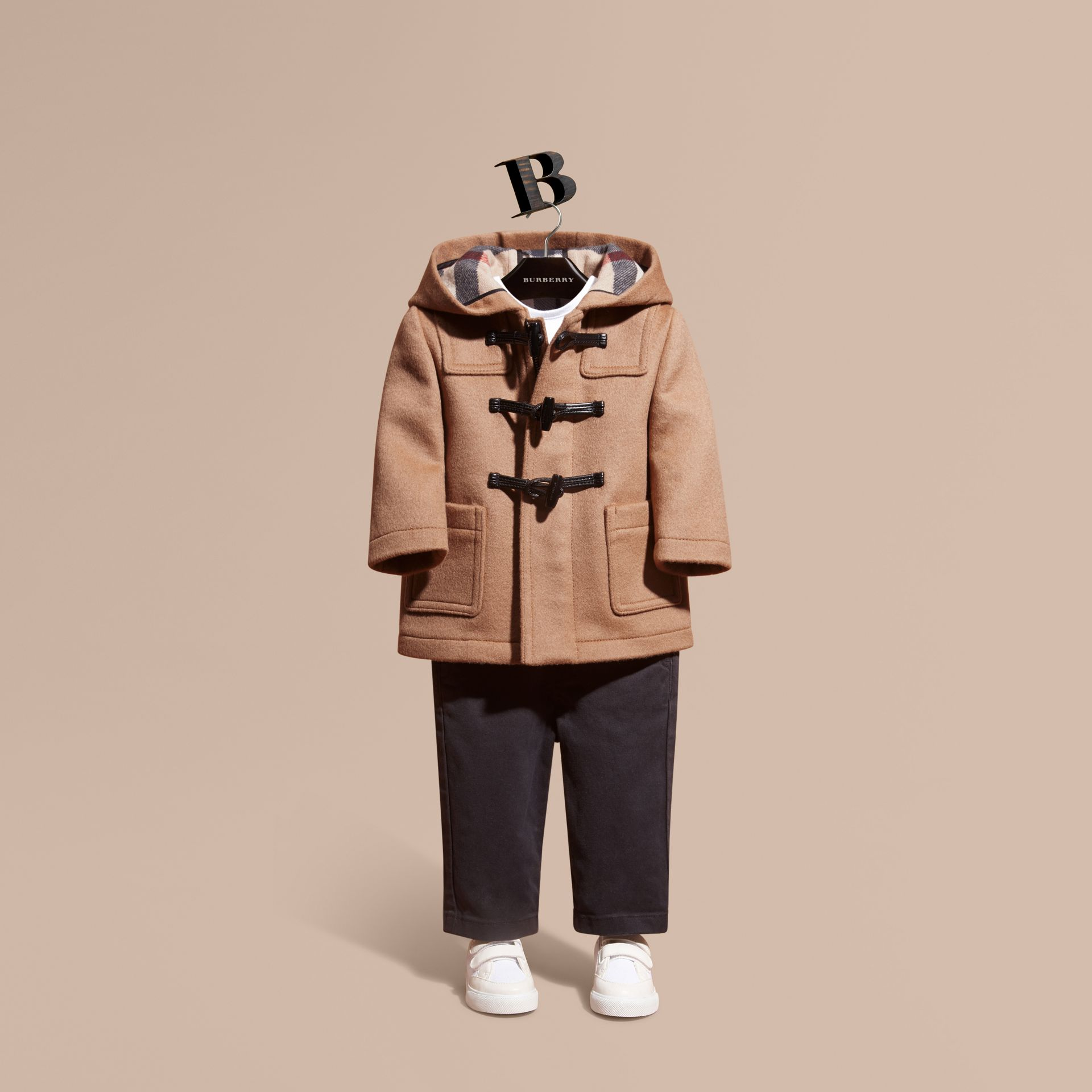 Wool Duffle Coat in New Camel - gallery image 1
