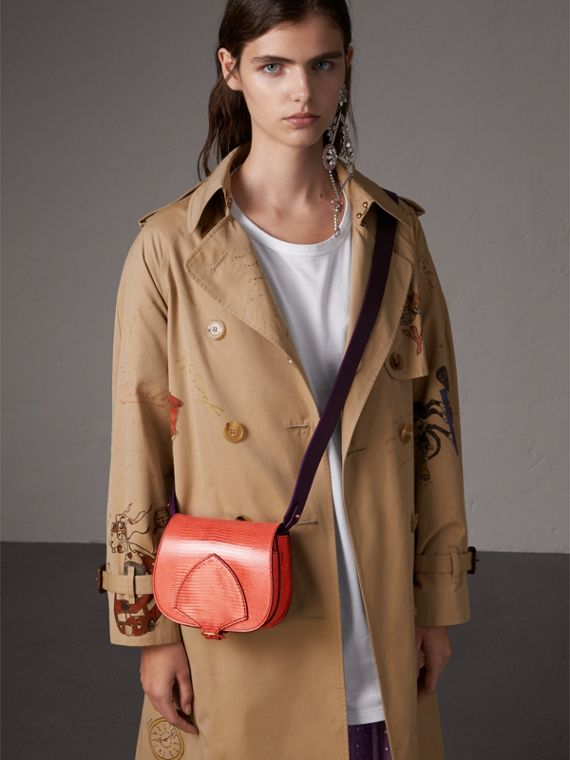 The Satchel in Lizard in Coral Red - Women | Burberry - cell image 2