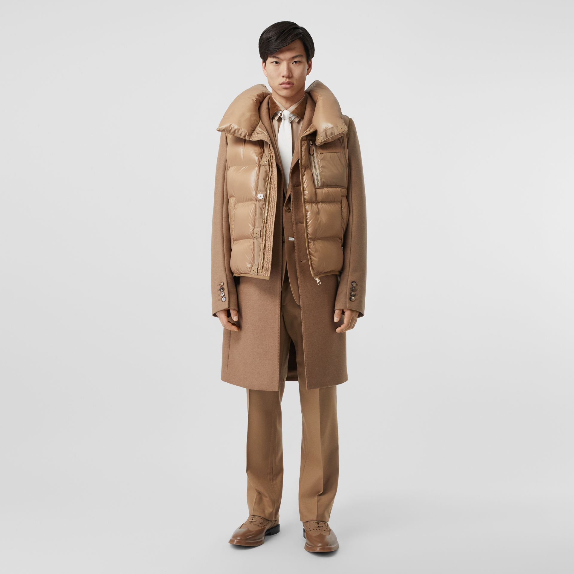 Down-filled Gilet Detail Camel Hair Tailored Coat - Men | Burberry United States - gallery image 0
