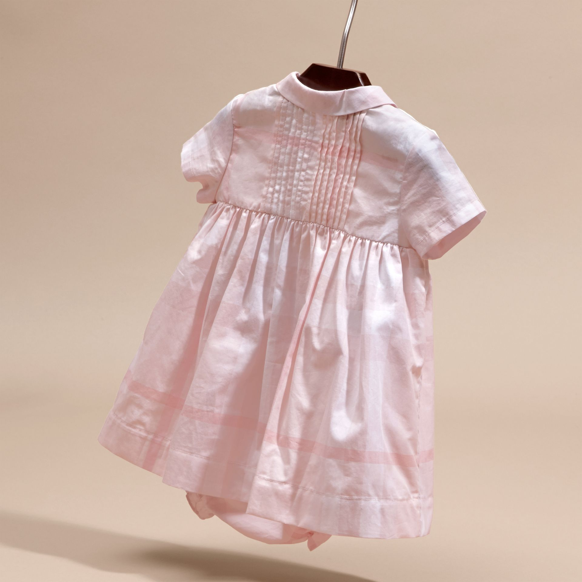 Ice pink Check Cotton Pin Pleat Dress and Bloomers - gallery image 4