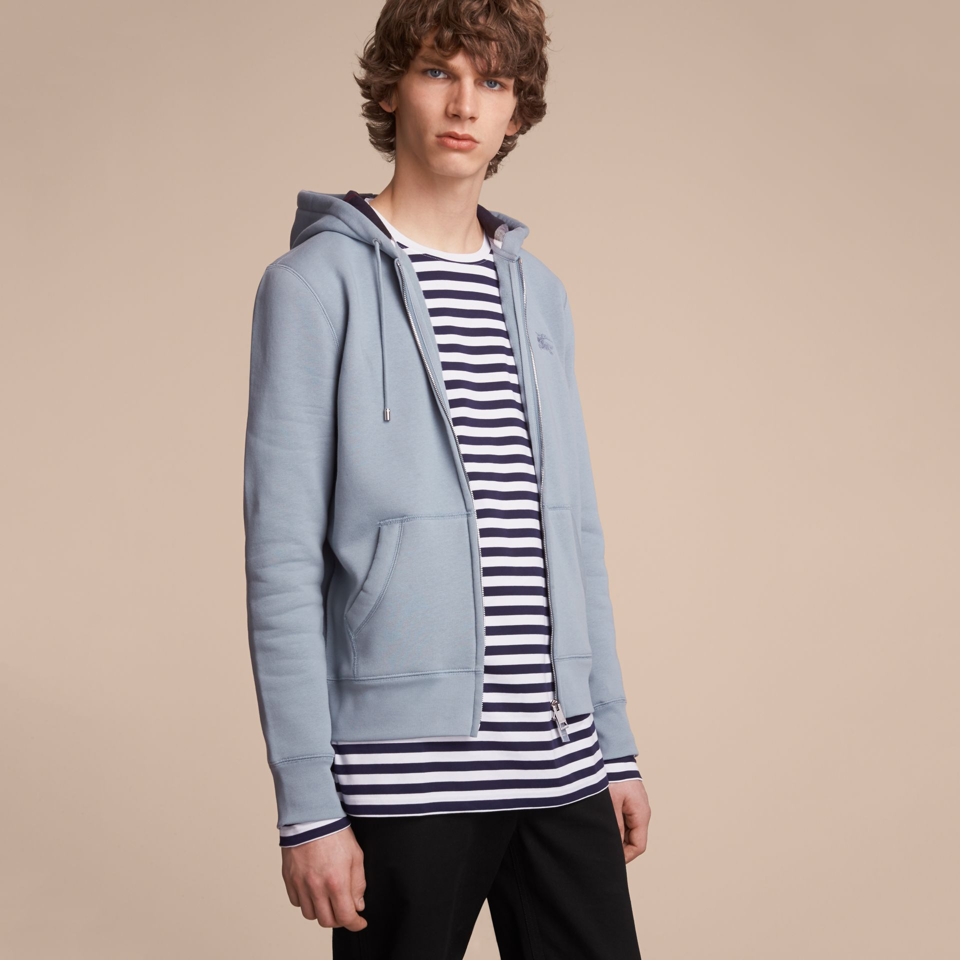 Hooded Cotton Jersey Top in Slate Blue - Men | Burberry - gallery image 6