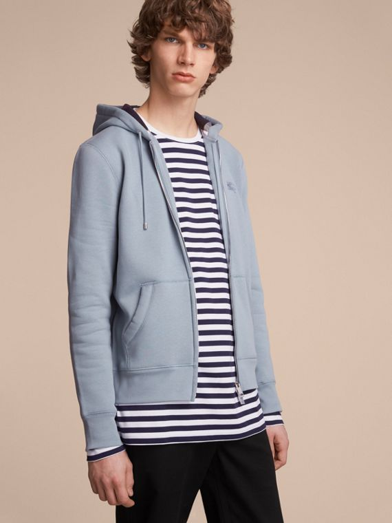 Hooded Cotton Jersey Top in Slate Blue - Men | Burberry Australia
