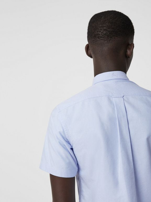 Short-sleeve Cotton Oxford Shirt in Cornflower Blue - Men | Burberry - cell image 1