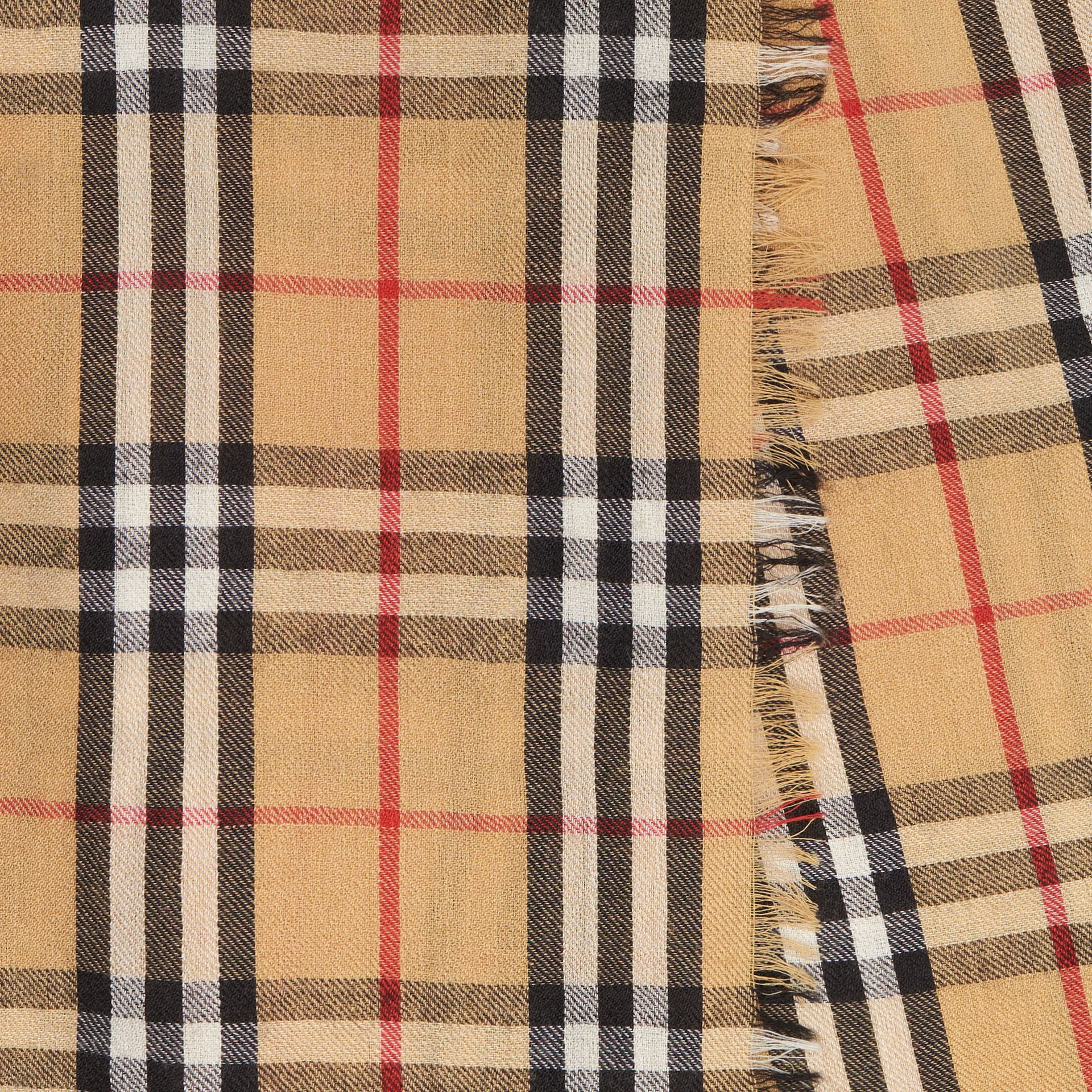 Vintage Check Lightweight Cashmere Scarf in Antique Yellow | Burberry United Kingdom - gallery image 1