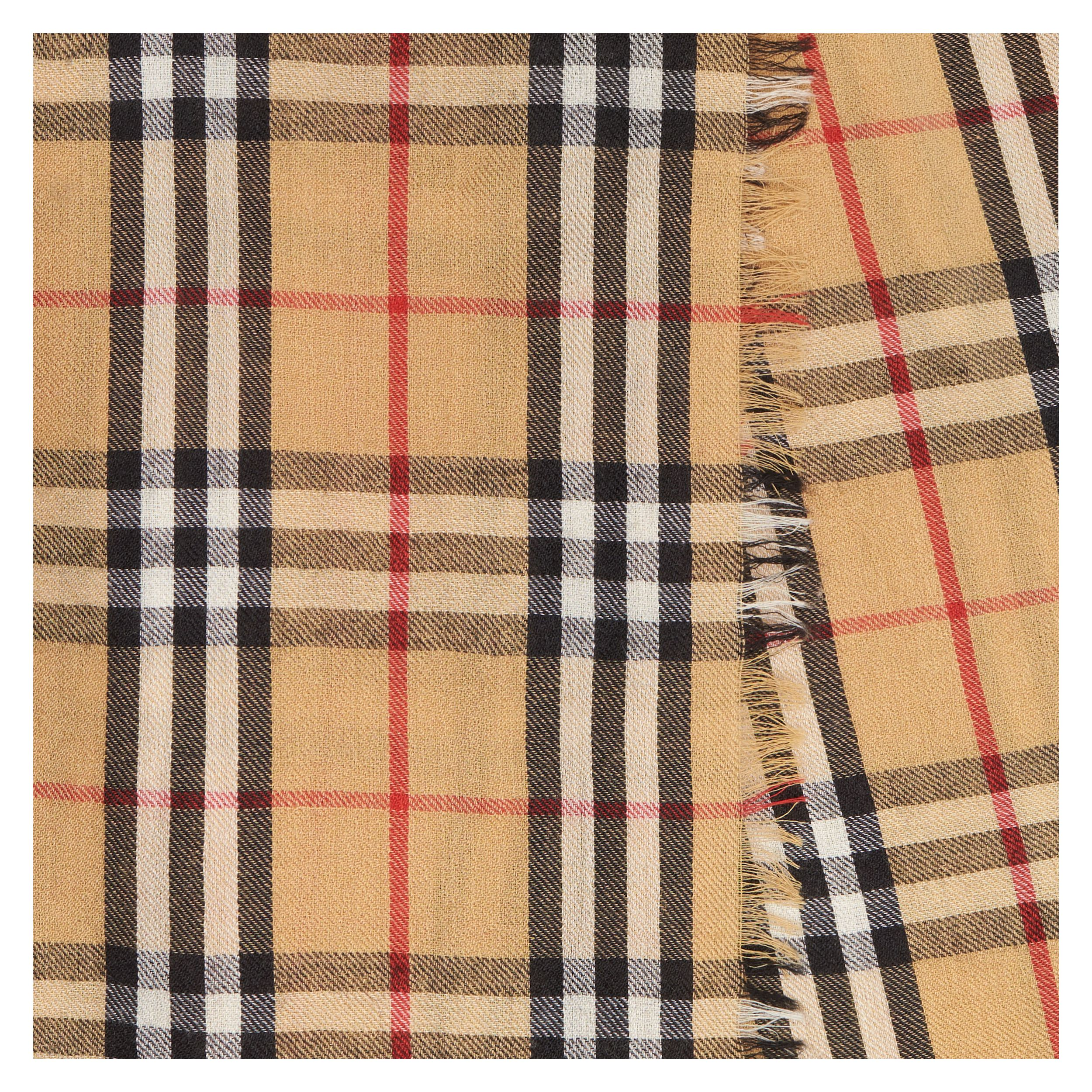 Vintage Check Lightweight Cashmere Scarf in Antique Yellow | Burberry - 2