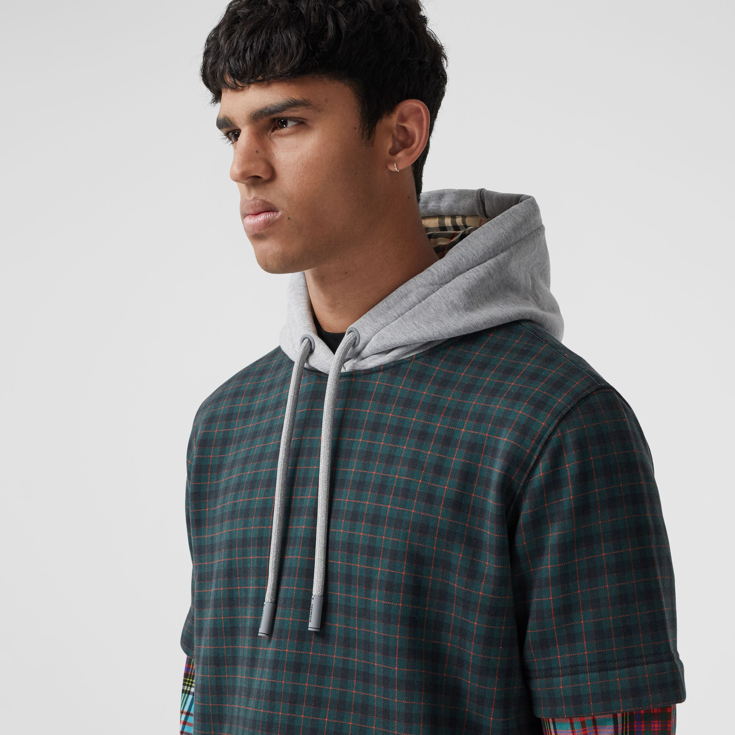 Patchwork Check Cotton Blend Hoodie - Men | Burberry - 2