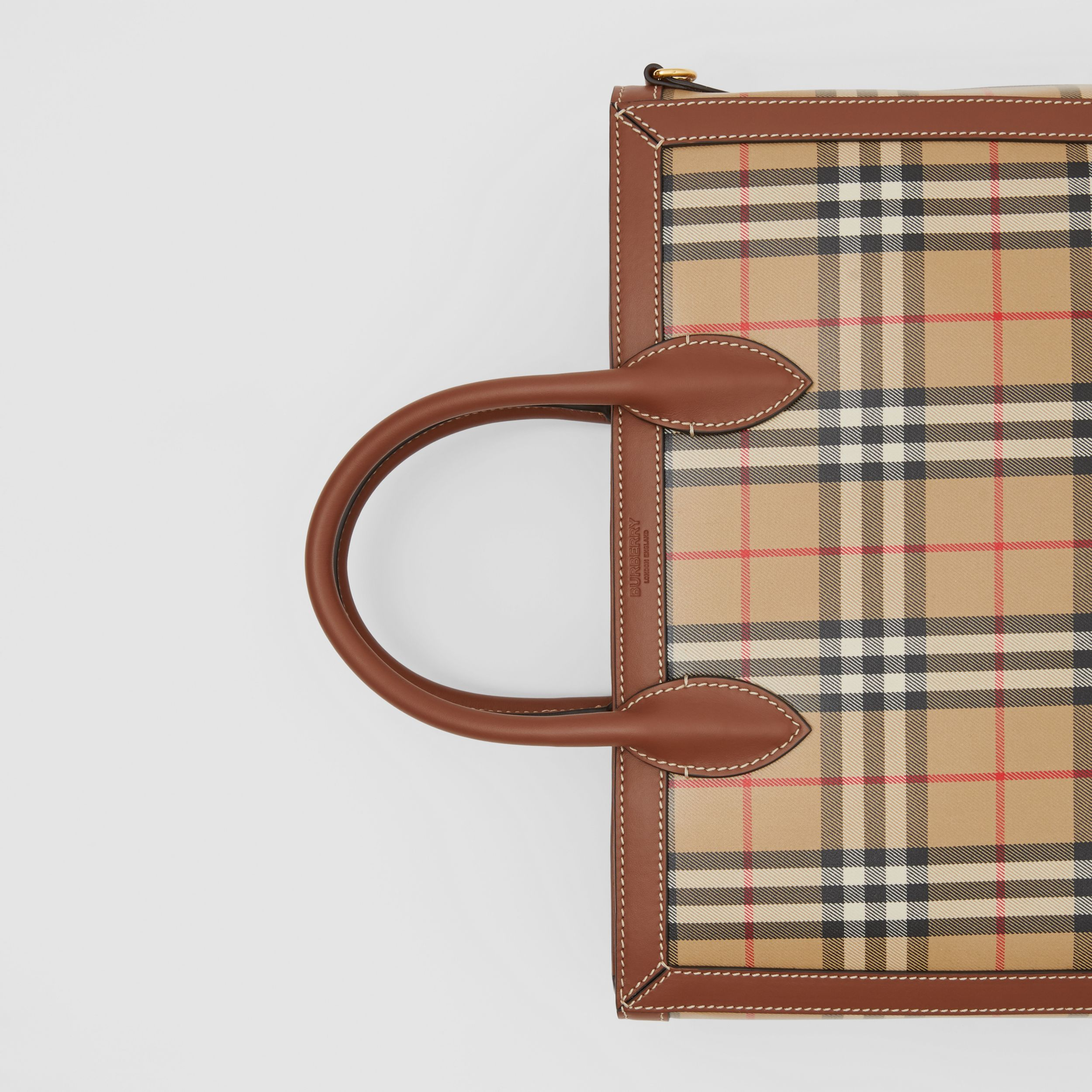 Medium Vintage Check Coated Canvas Tote in Archive Beige - Men | Burberry Singapore - 2