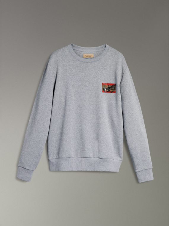 Graffitied Ticket Print Sweatshirt in Pale Grey Melange - Men | Burberry - cell image 3