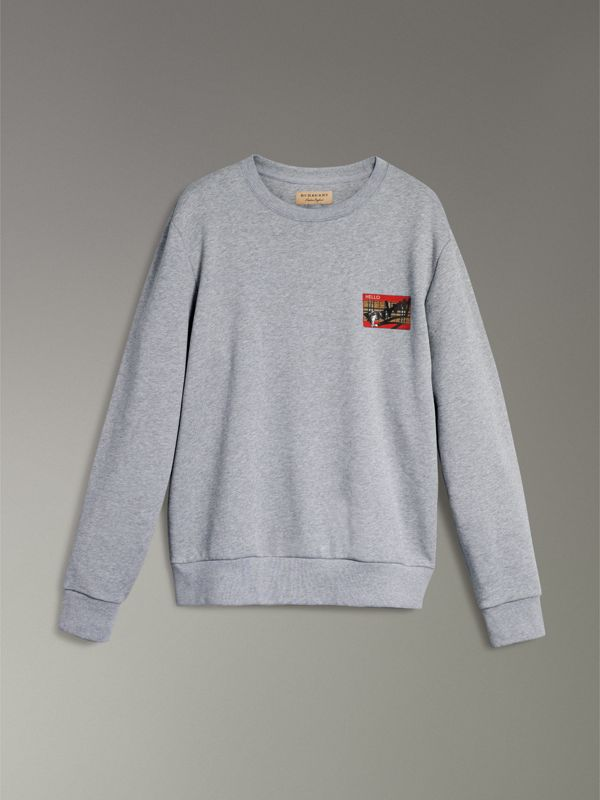 Graffitied Ticket Print Sweatshirt in Pale Grey Melange - Men | Burberry Singapore - cell image 3