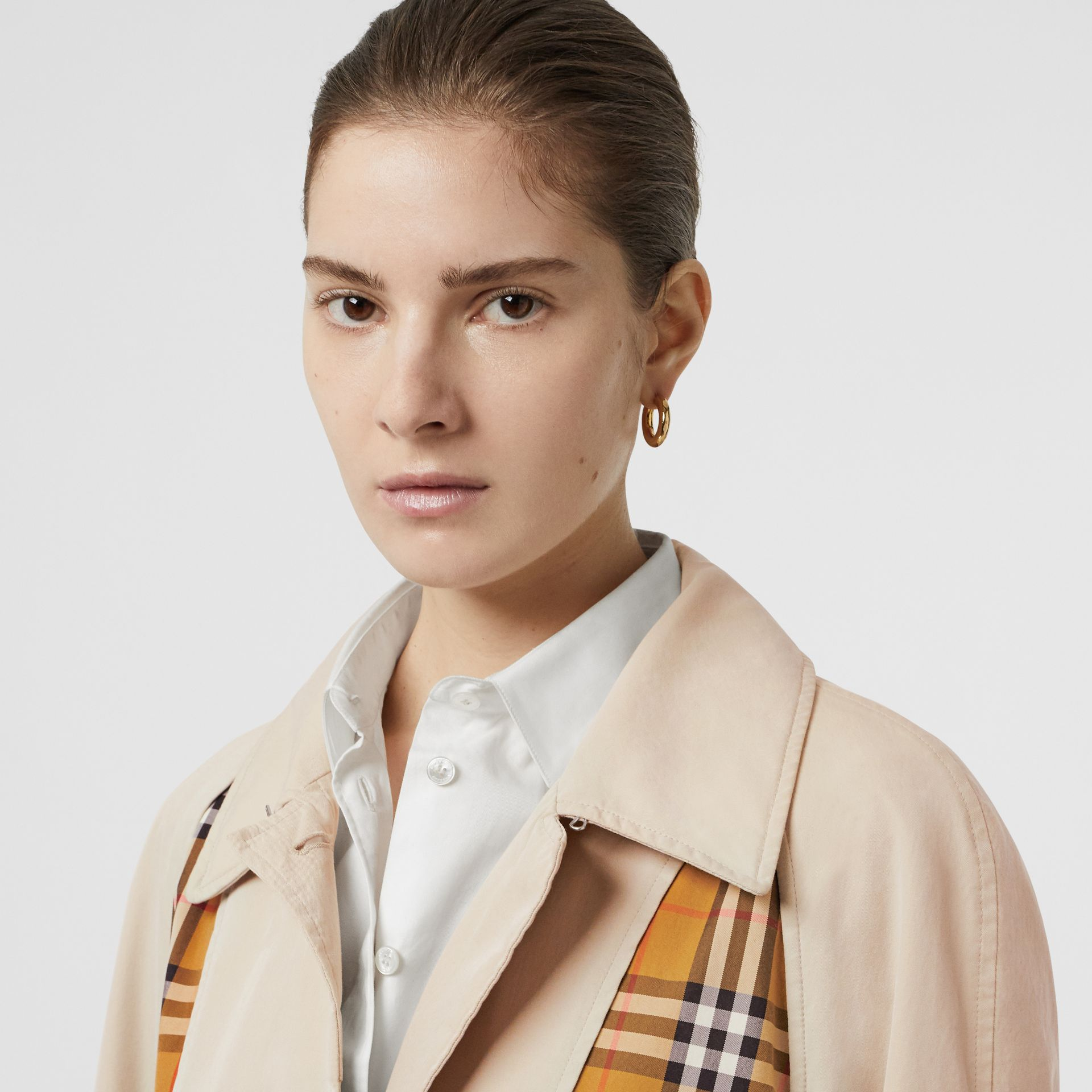 Vintage Check and Tropical Gabardine Car Coat in Stone - Women | Burberry United States - gallery image 1