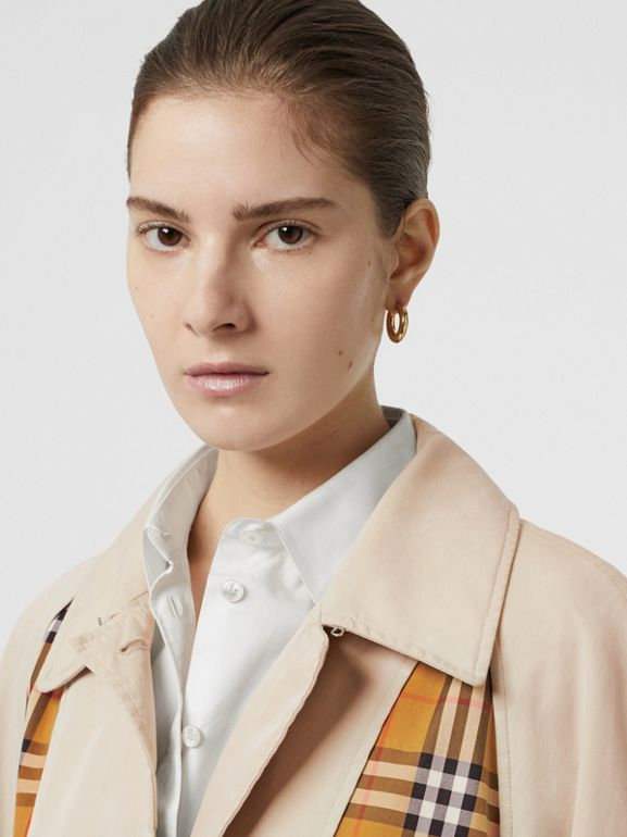 Vintage Check and Tropical Gabardine Car Coat in Stone - Women | Burberry - cell image 1