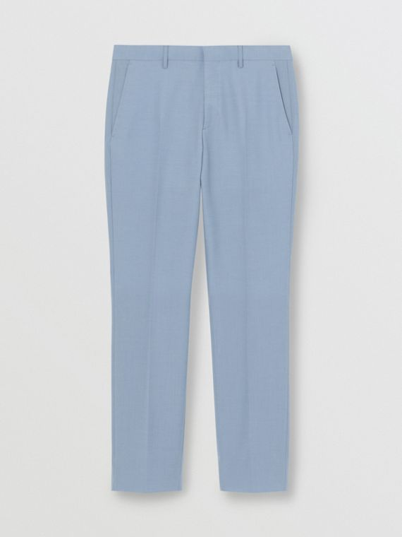 Classic Fit Wool Tailored Trousers in Pale Blue