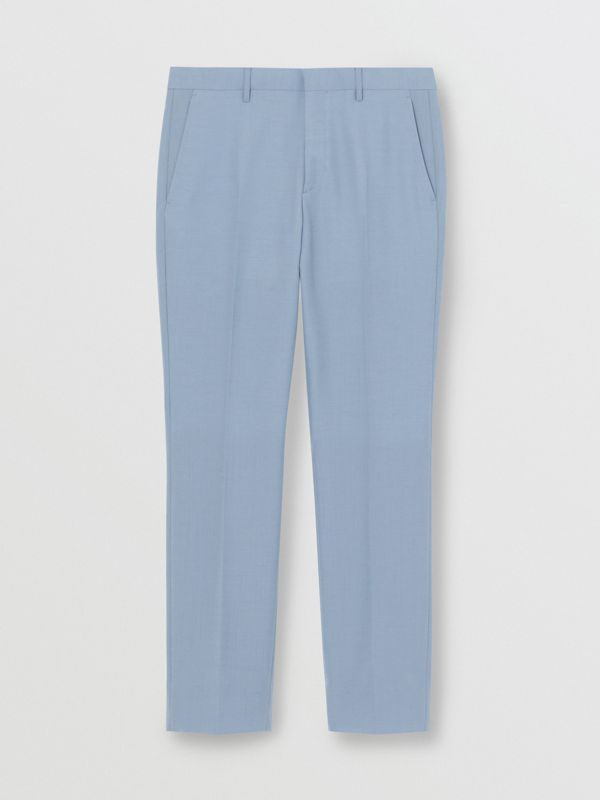 Classic Fit Wool Tailored Trousers in Pale Blue - Men | Burberry Singapore - cell image 3