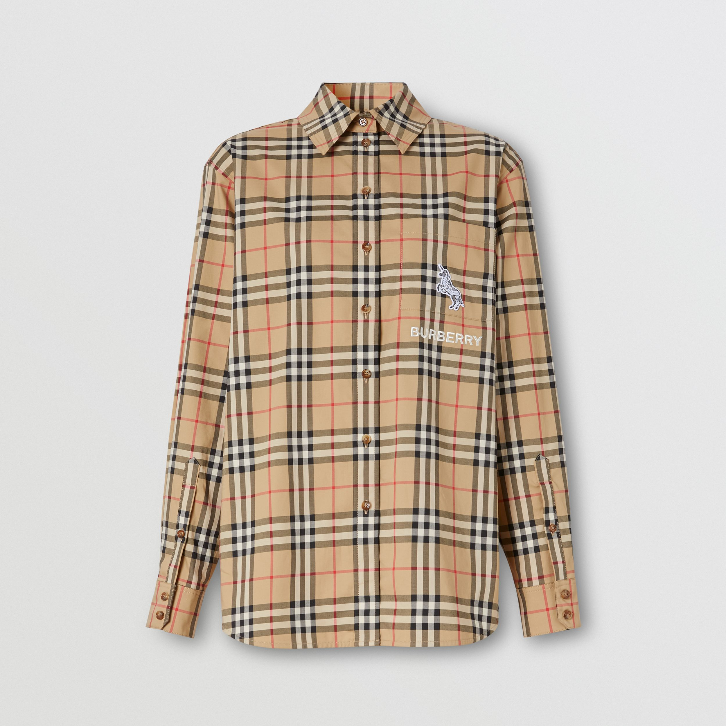 Zebra Appliqué Vintage Check Cotton Oversized Shirt - Women | Burberry - 4