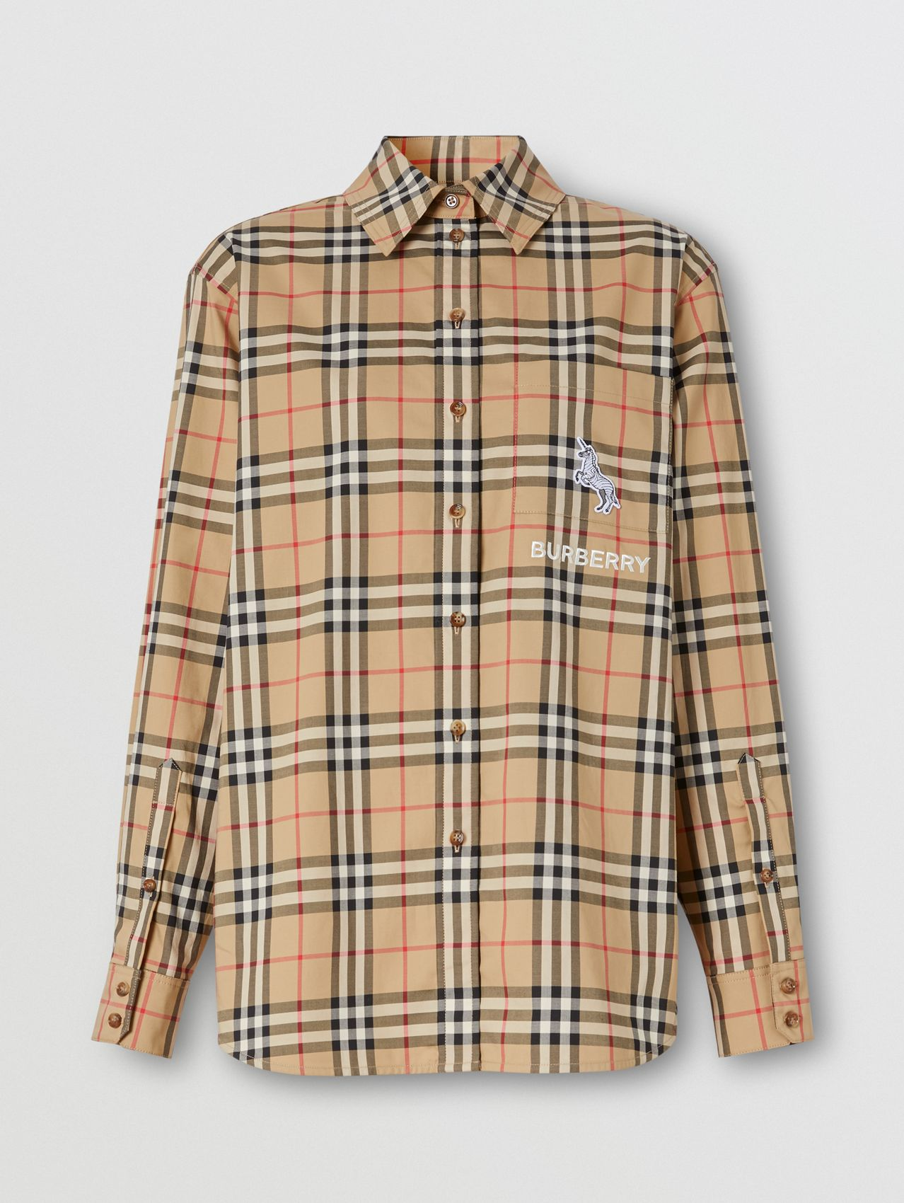 Zebra Appliqué Vintage Check Cotton Oversized Shirt
