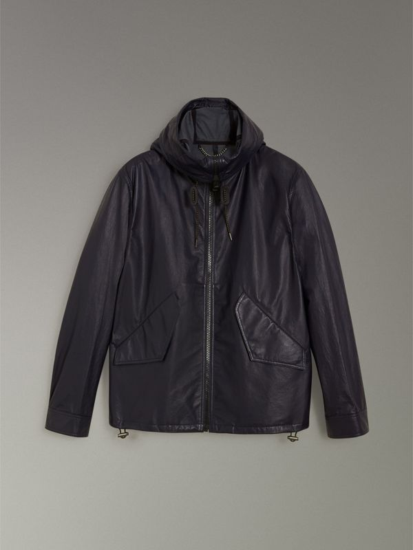 Paper-light Lambskin Hooded Jacket in True Navy - Men | Burberry - cell image 3