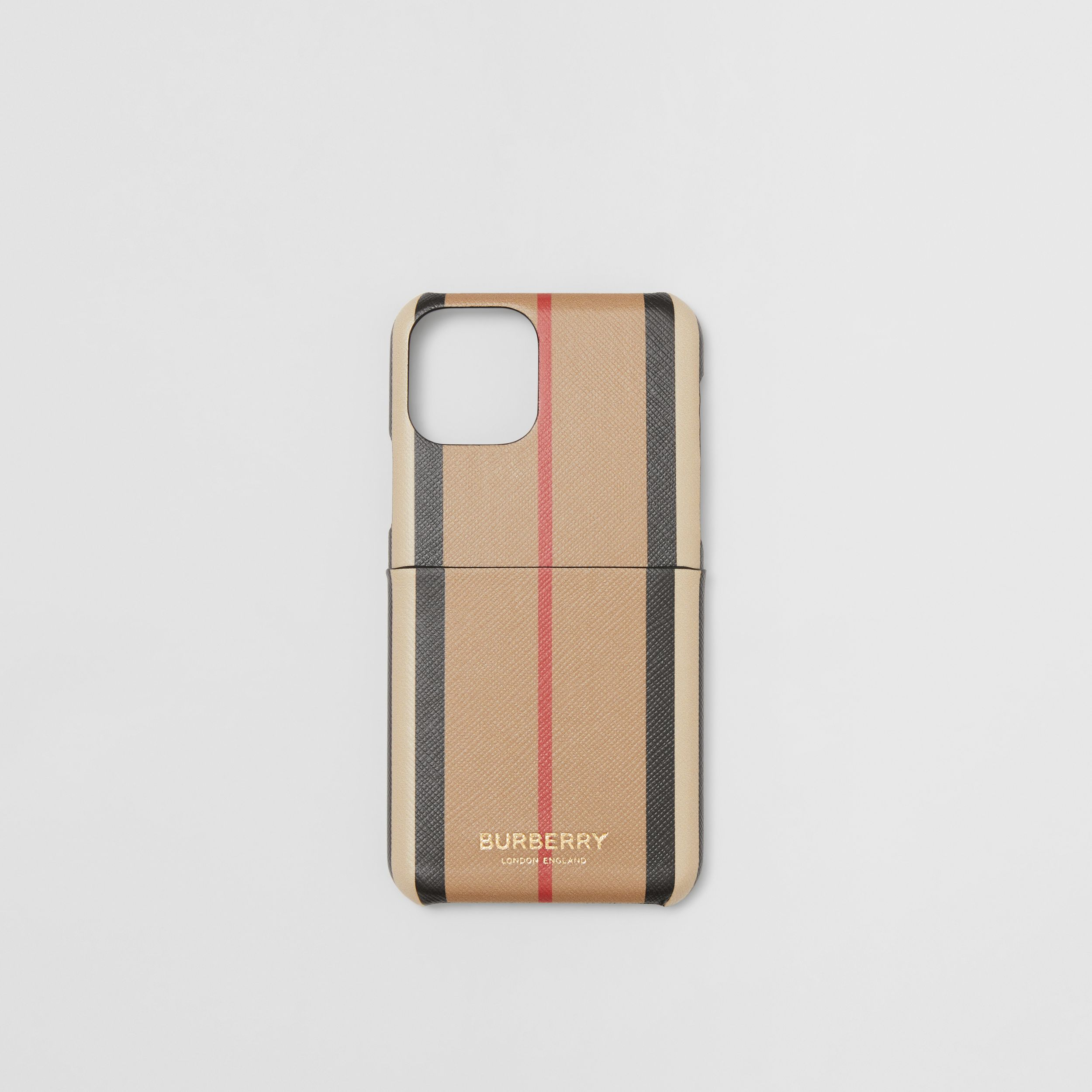 Custodia per iPhone 11 Pro in e-canvas con iconico motivo a righe (Beige Archivio) | Burberry - 1