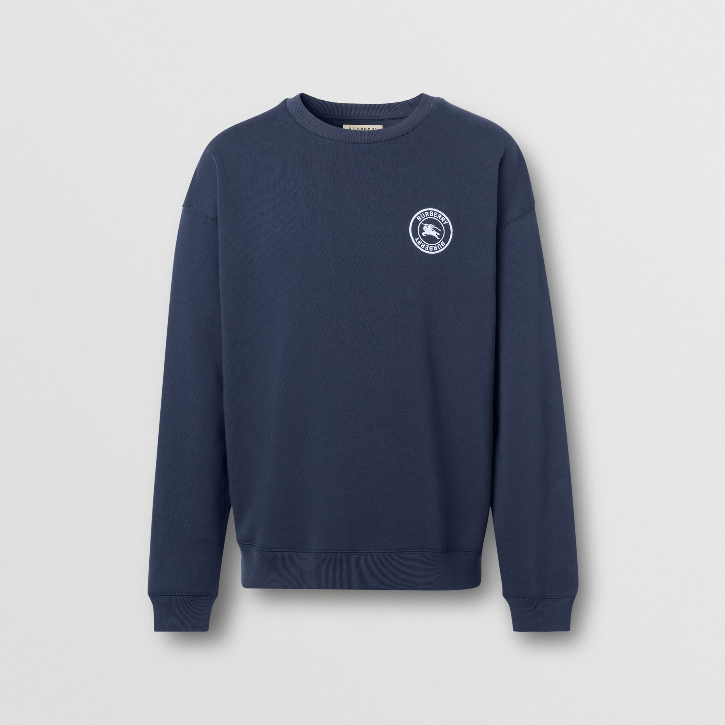 Embroidered Logo Jersey Sweatshirt in Navy - Men | Burberry - 1