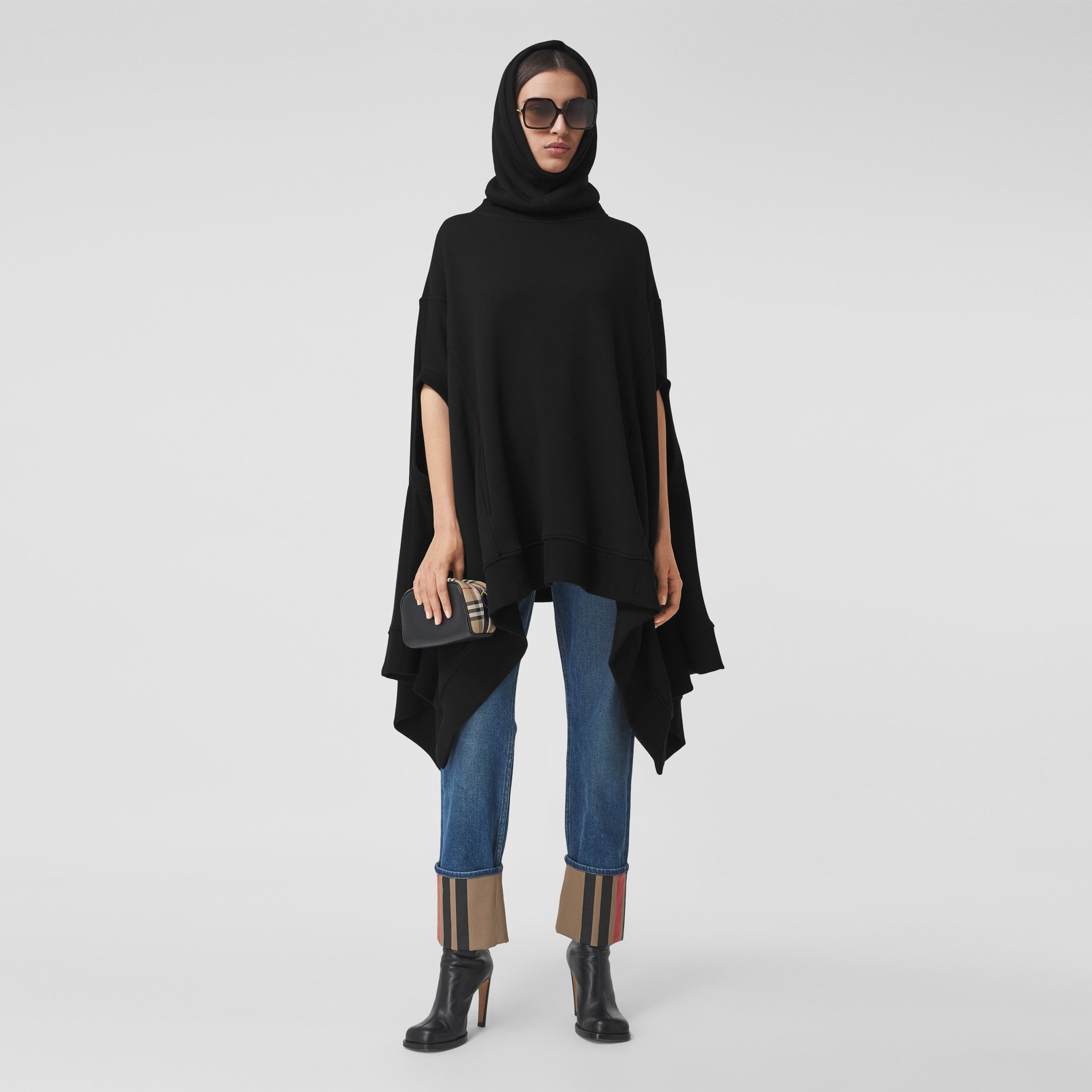Cut-out Sleeve Jersey Hooded Cape in Black - Women | Burberry - 1